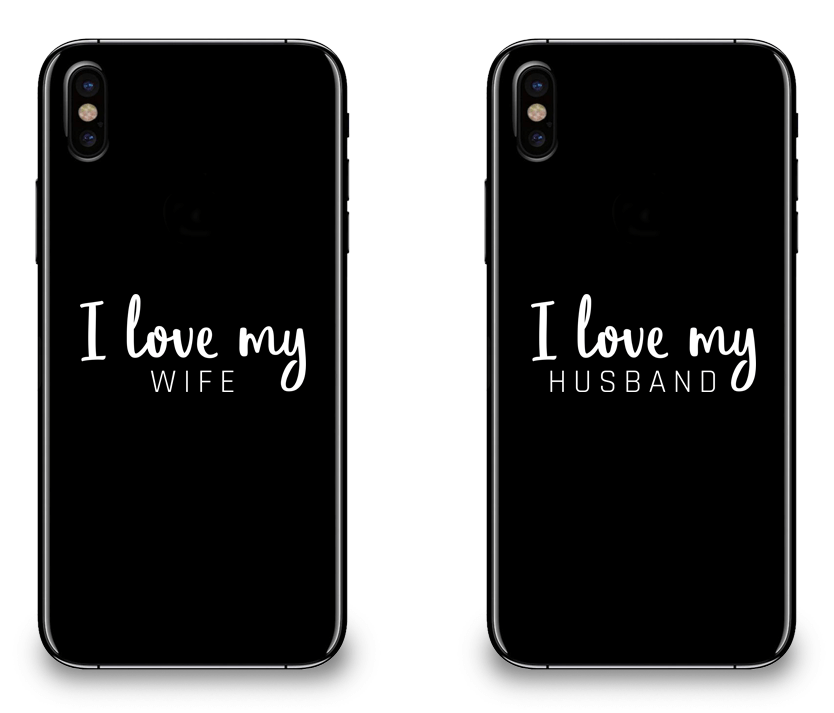 I Love My Wife and Husband - Couple Matching iPhone X Cases