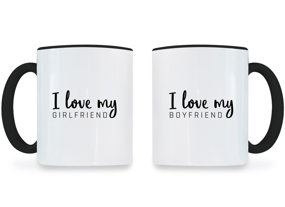 I Love My Girlfriend and Boyfriend - Couple Coffee Mugs