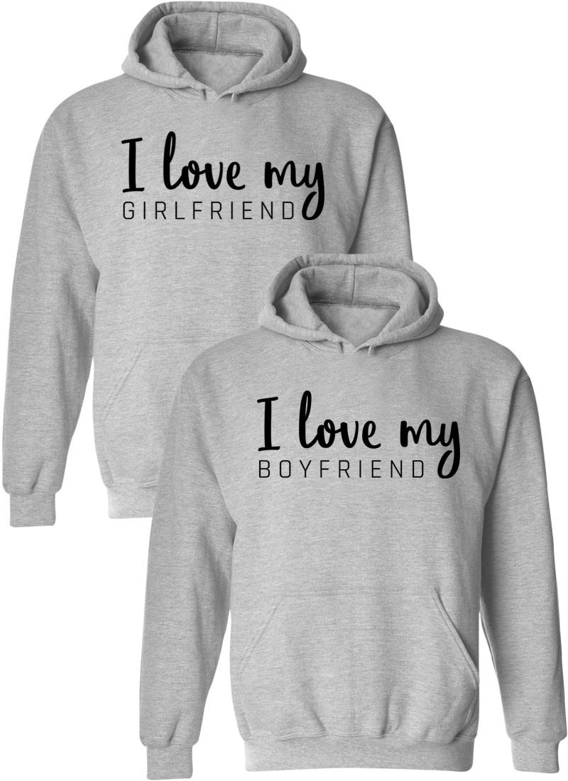 I Love My Girlfriend and Boyfriend Matching Couple Hoodies