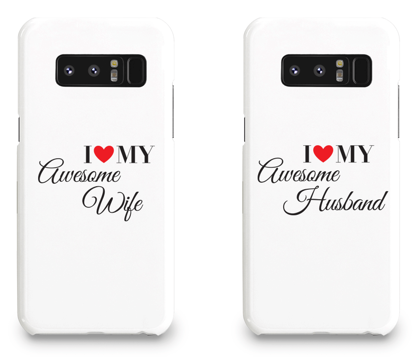I Love My Awesome Wife and Husband - Couple Matching Phone Cases