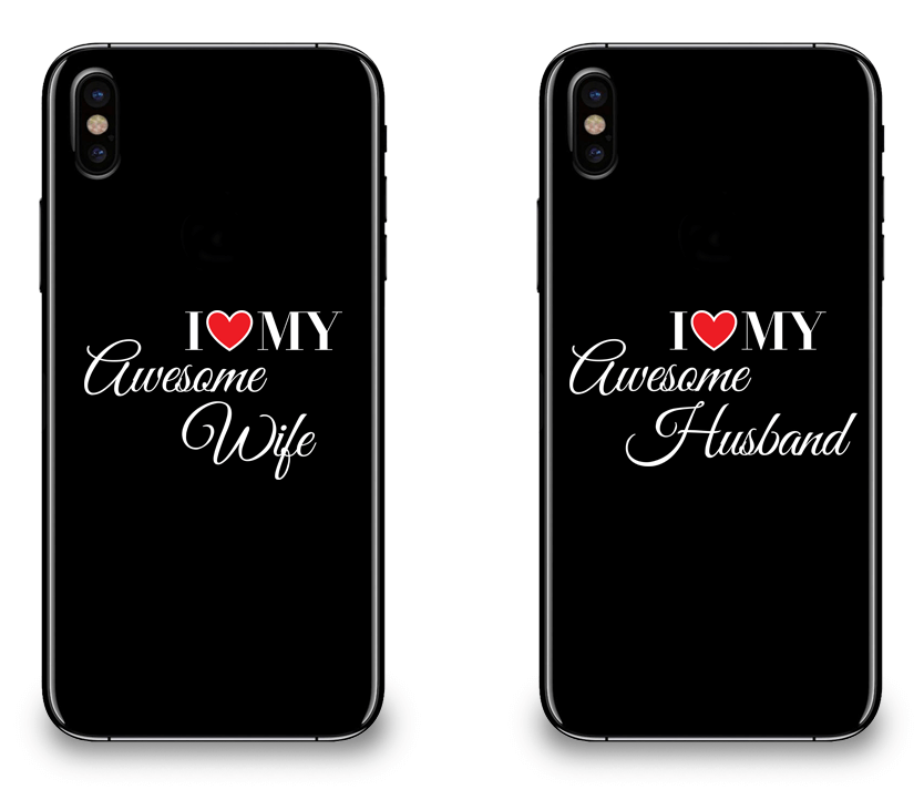I Love My Awesome Wife and Husband - Couple Matching iPhone X Cases