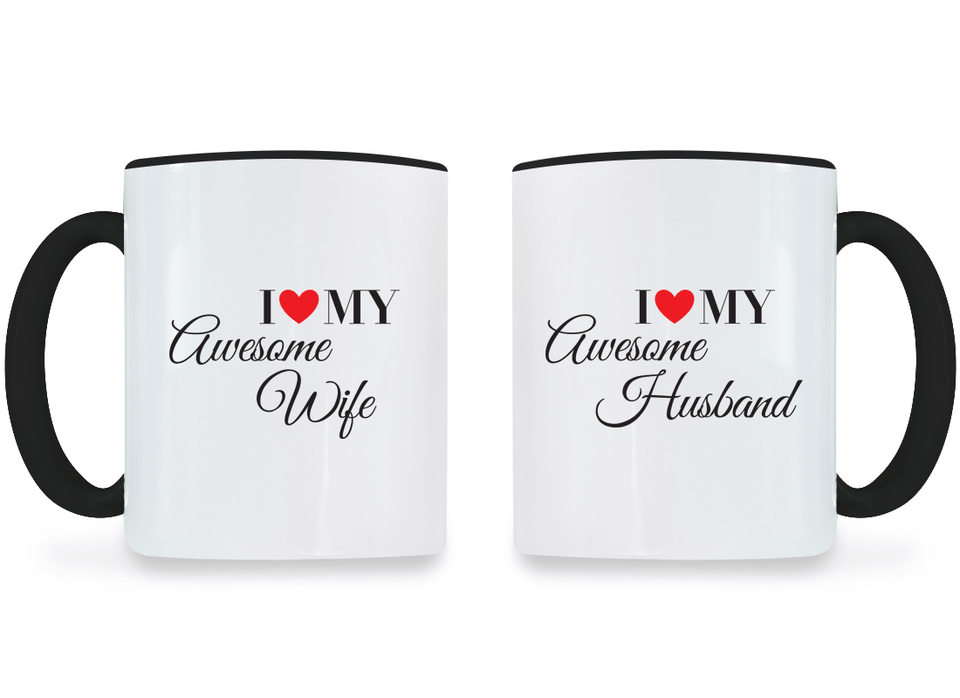 I Love My Awesome Wife and Husband - Couple Coffee Mugs