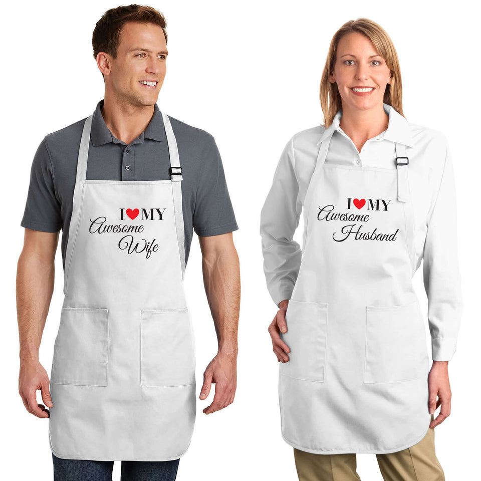 I Love My Awesome Wife & Husband - Couple Aprons