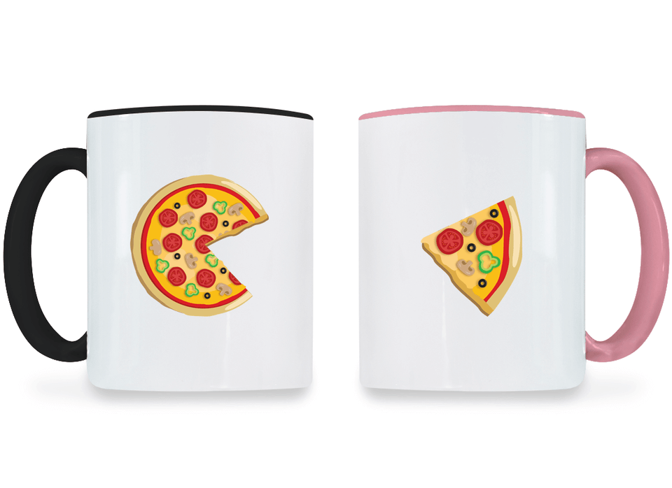Piece Pizza and Slice - Couple Coffee Mugs