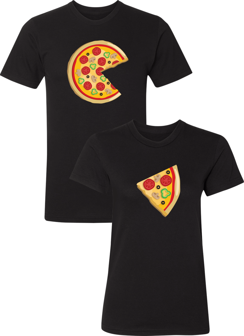 Piece Pizza and Slice Couple Matching Shirts