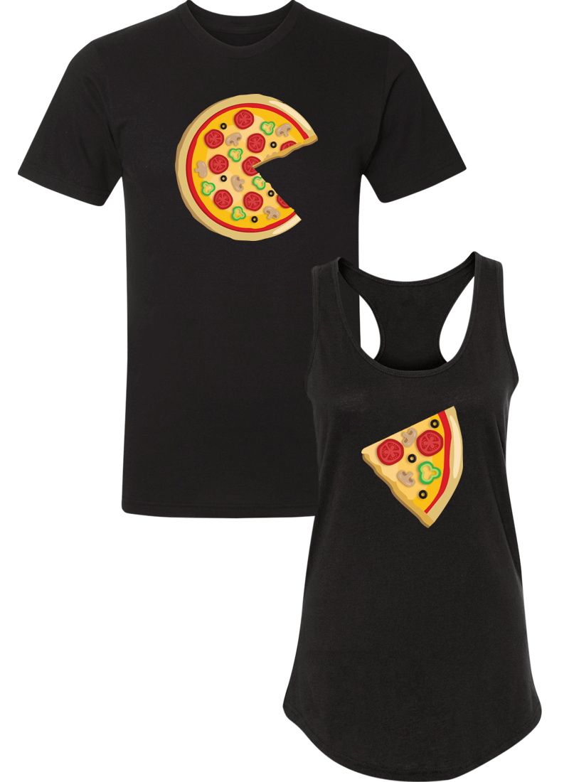 Piece Pizza and Slice - Couple Shirt Racerback