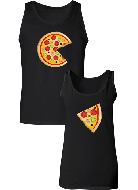 Piece Pizza and Slice Couple Tanks