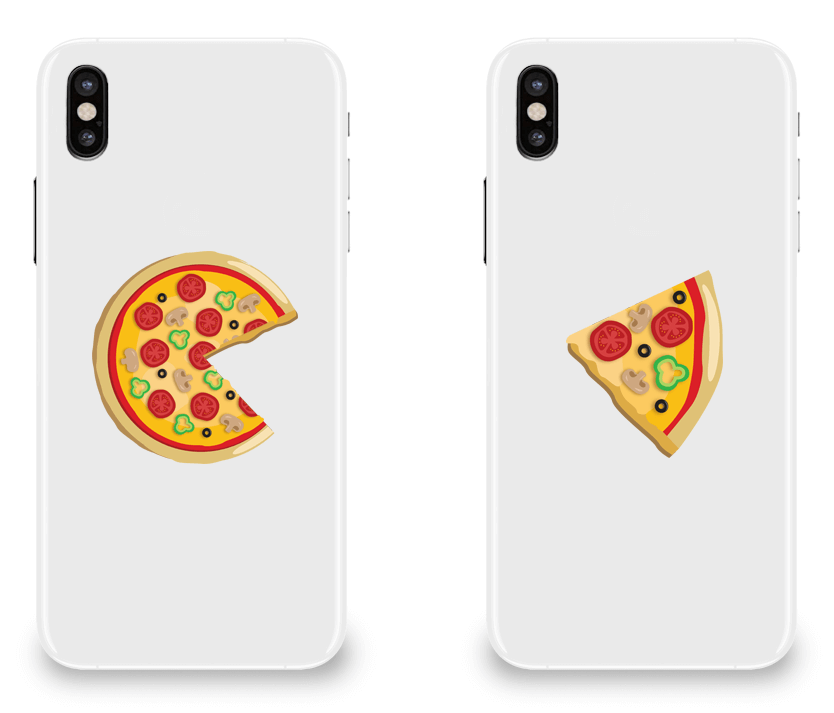 Piece Pizza and Slice - Couple Matching iPhone X Cases