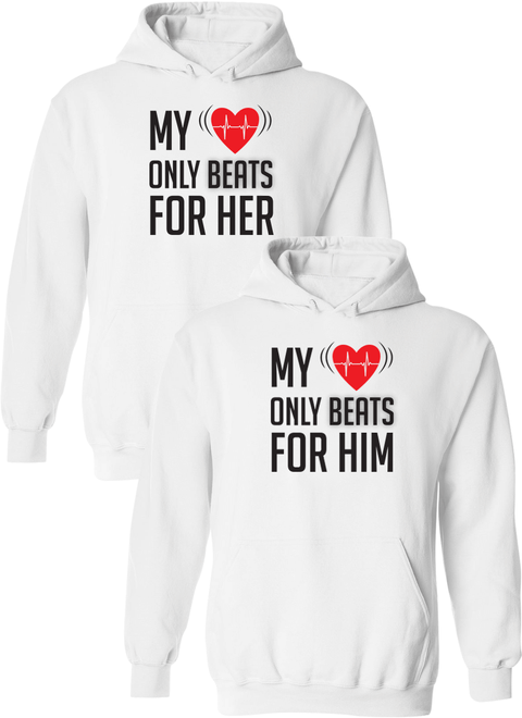 My Heart Only Beats For Her & Him Matching Couple Hoodies
