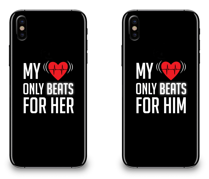 My Heart Only Beats For Her & Him - Couple Matching iPhone X Cases