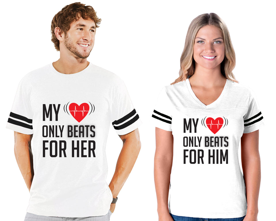 My Heart Only Beats For Her & Him - Couple Cotton Jerseys