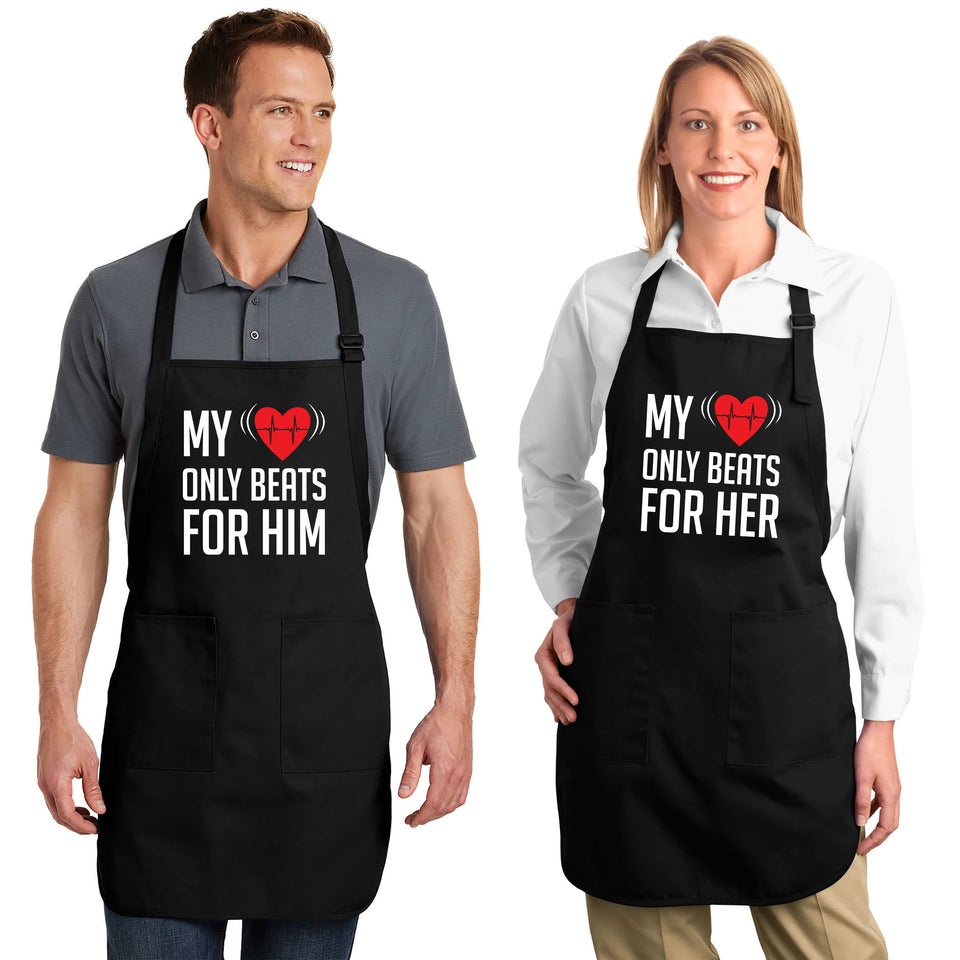 My Heart Only Beats For Him & Her - Couple Aprons
