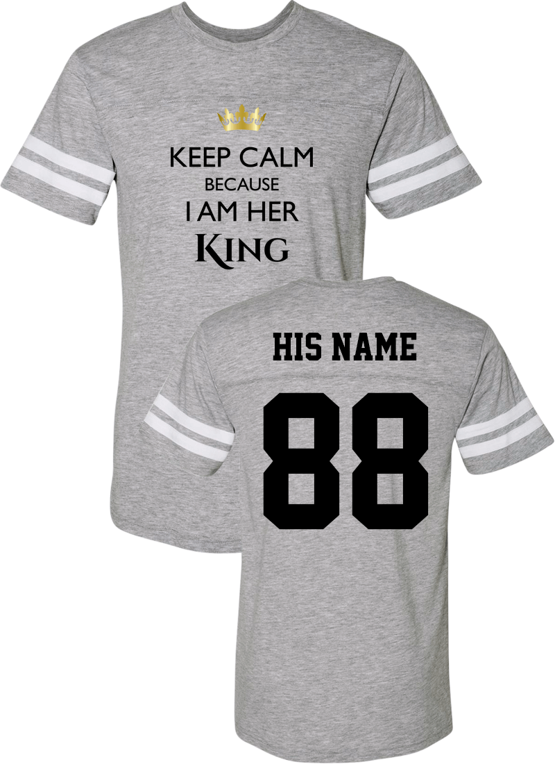 Keep Calm I Am Her King & His Queen - Couple Cotton Jerseys