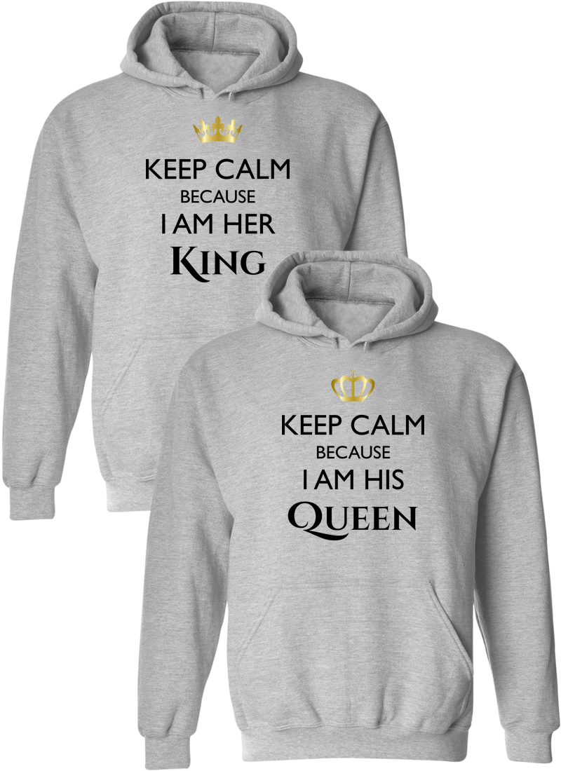Keep Calm I Am Her King & His Queen Matching Couple Hoodies