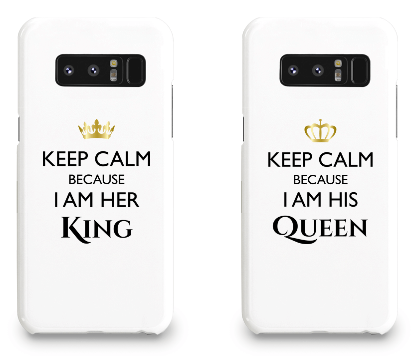 Keep Calm I Am Her King & His Queen - Couple Matching Phone Cases