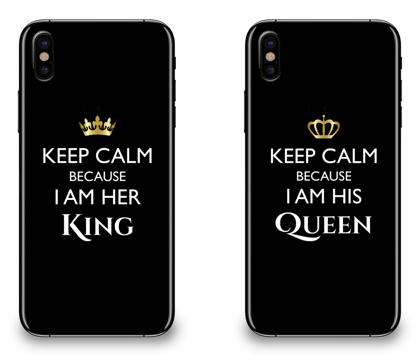 Keep Calm I Am Her King & His Queen - Couple Matching iPhone X Cases