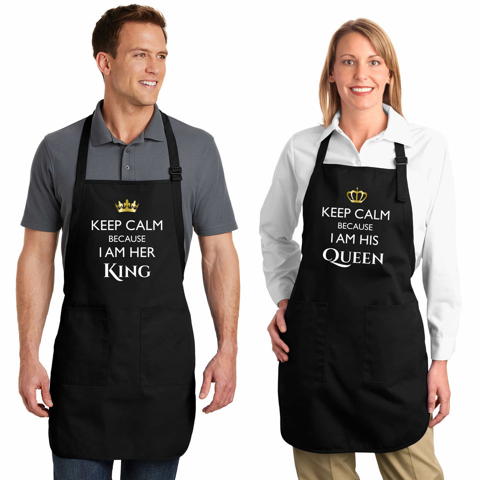 Keep Calm Because I Am Her King & His Queen - Couple Aprons