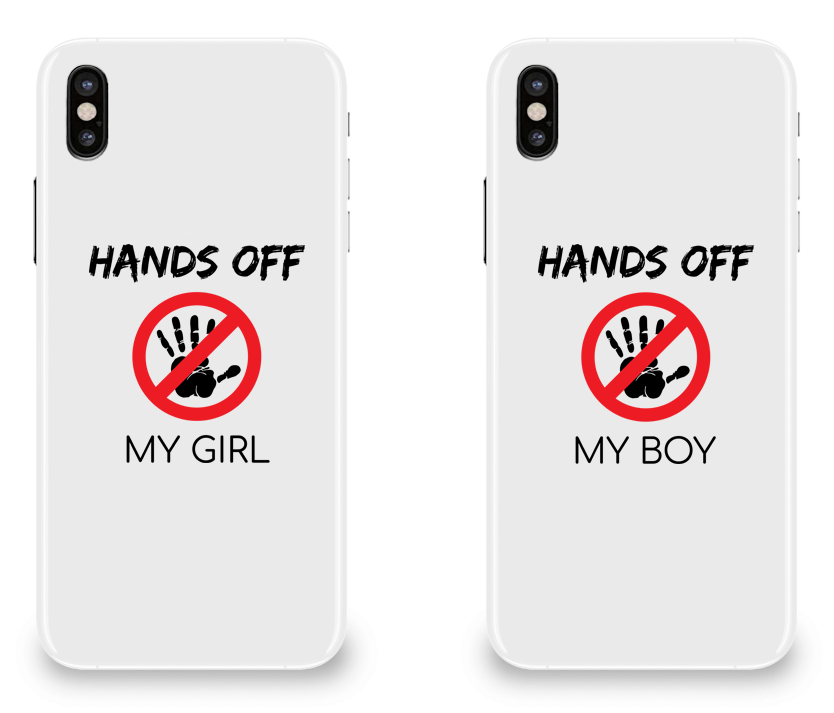 Hands Off My Girl & Boy - Couple Matching iPhone X Cases