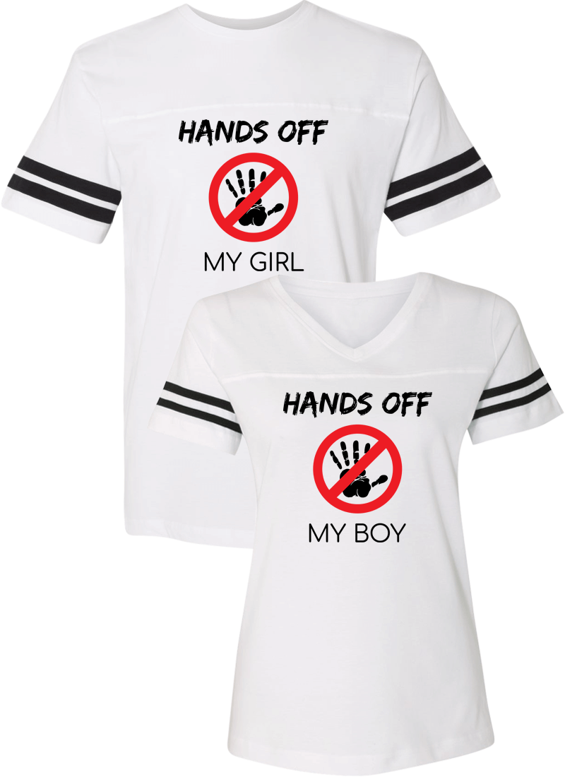 Hands Off My Girl & Boy Couple Sports Jersey