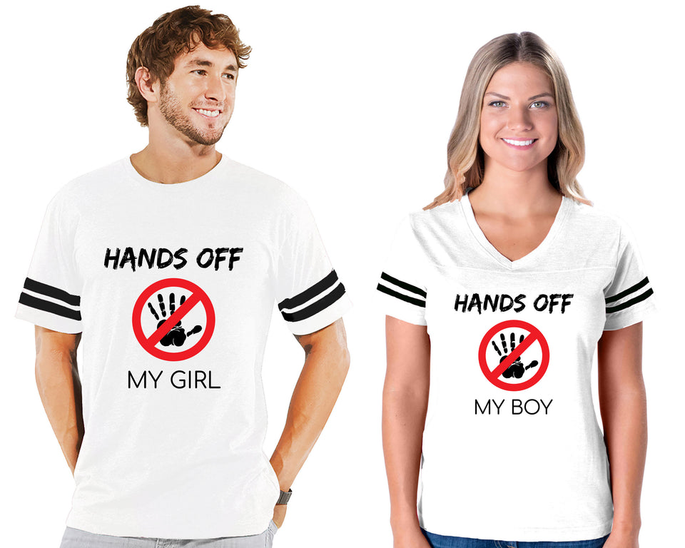 Hands Off My Girl & Boy - Couple Cotton Jerseys