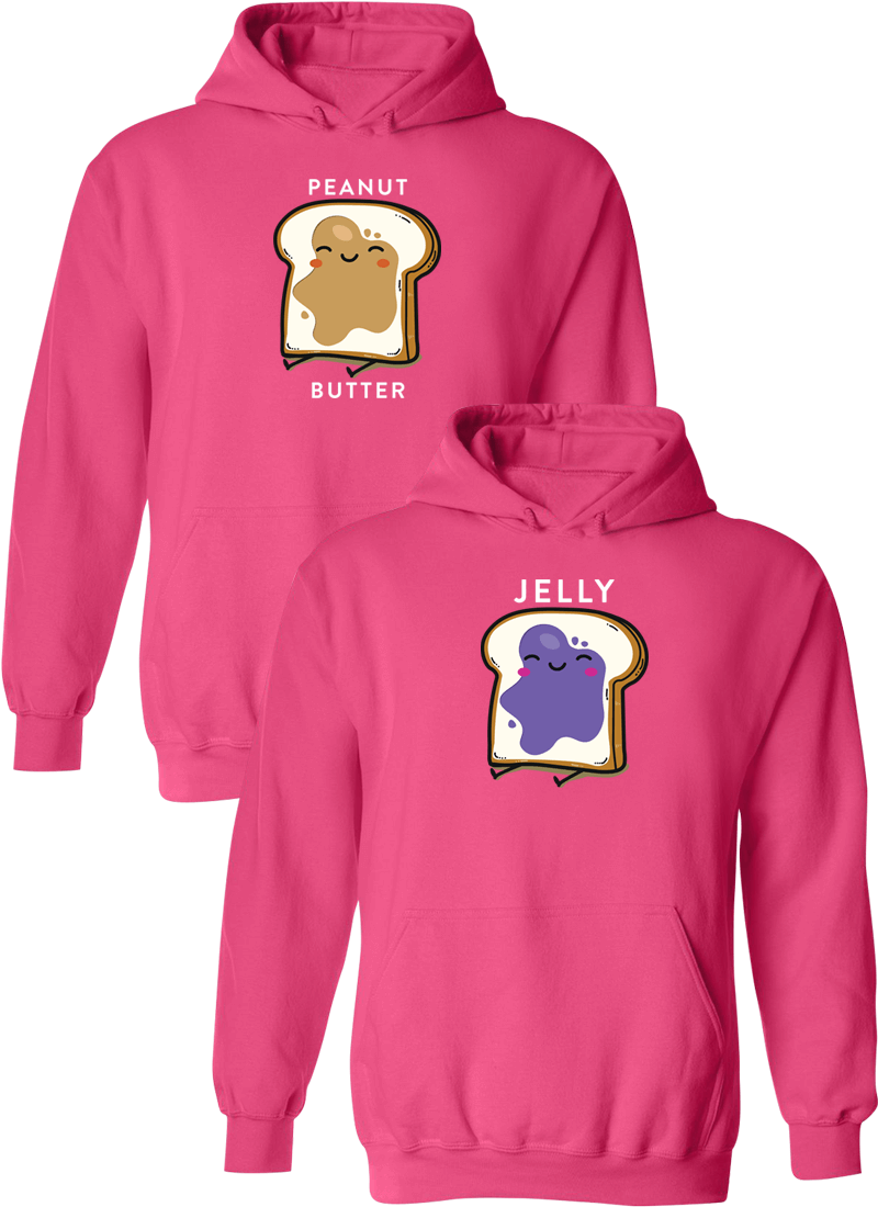 Peanut Butter & Jelly Best Friend BFF Matching Hoodies