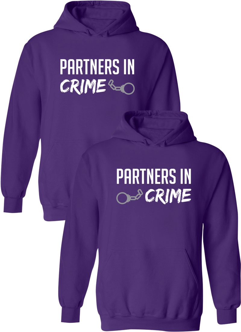 Partners In Crime Best Friend BFF Matching Hoodies