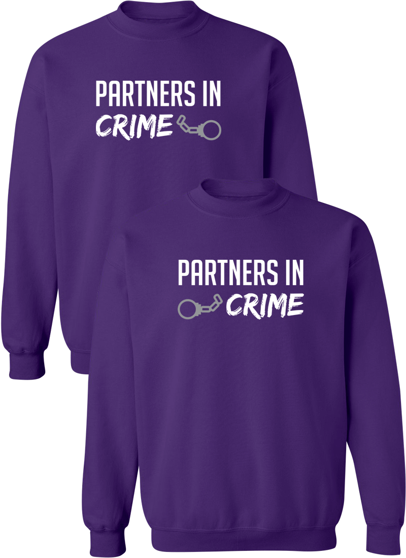 Partners In Crime Best Friend BFF Matching Sweatshirts