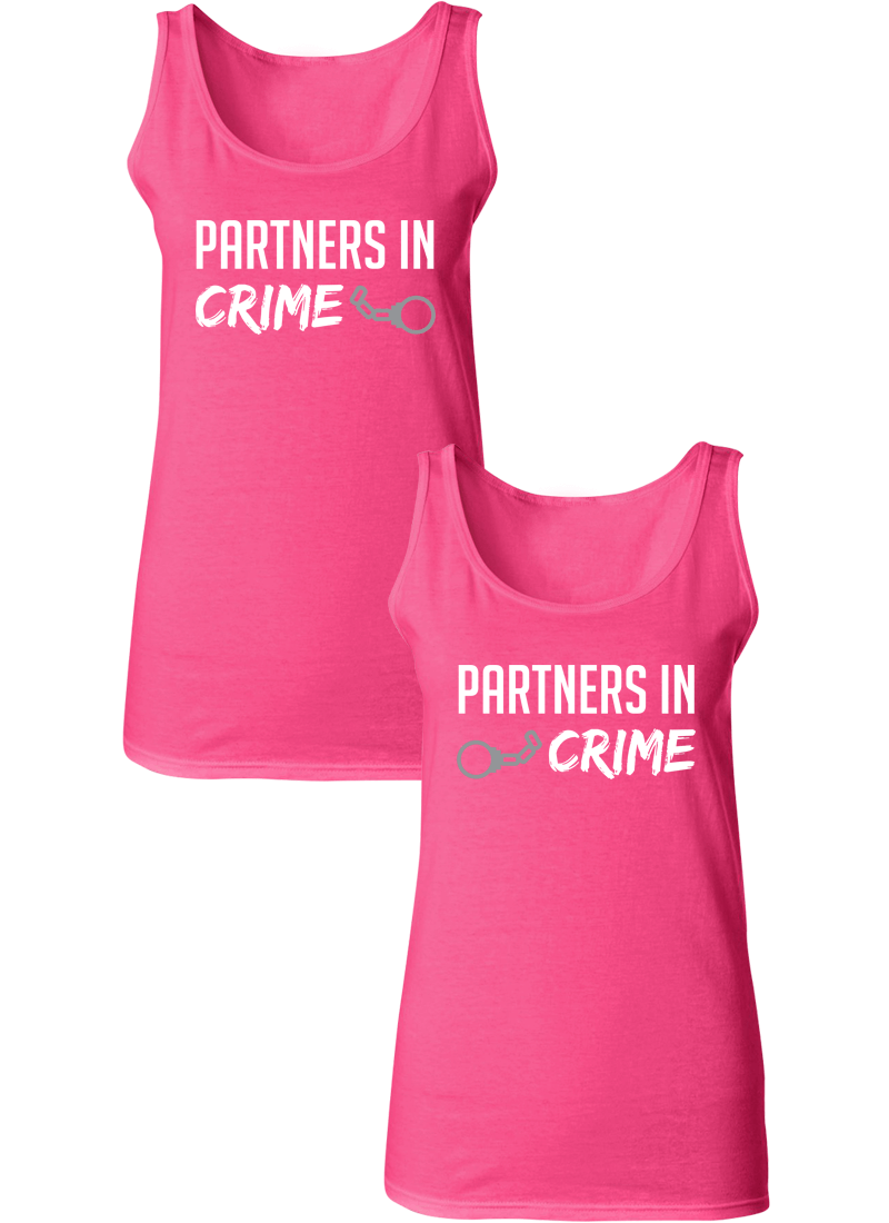 Partners In Crime Best Friend BFF Matching Tanks