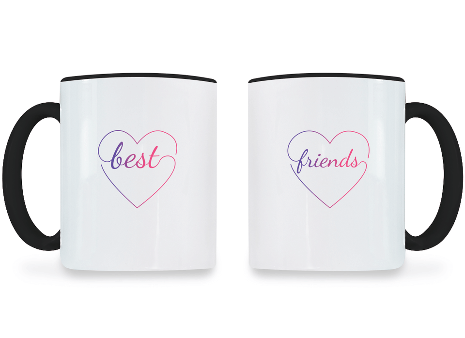 Colorful Hearts Best Friend - BFF Coffee Mugs