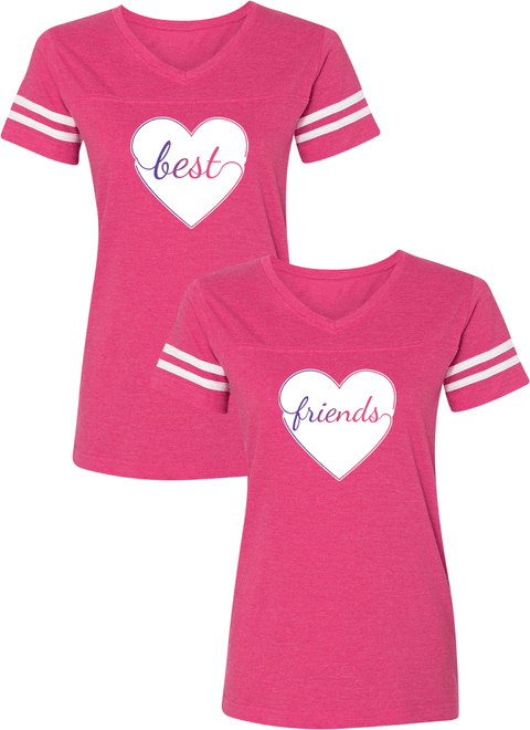 Colorful Hearts Best Friend BFF Matching Jersey