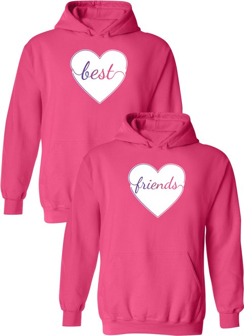 Colorful Hearts Best Friend BFF Matching Hoodies