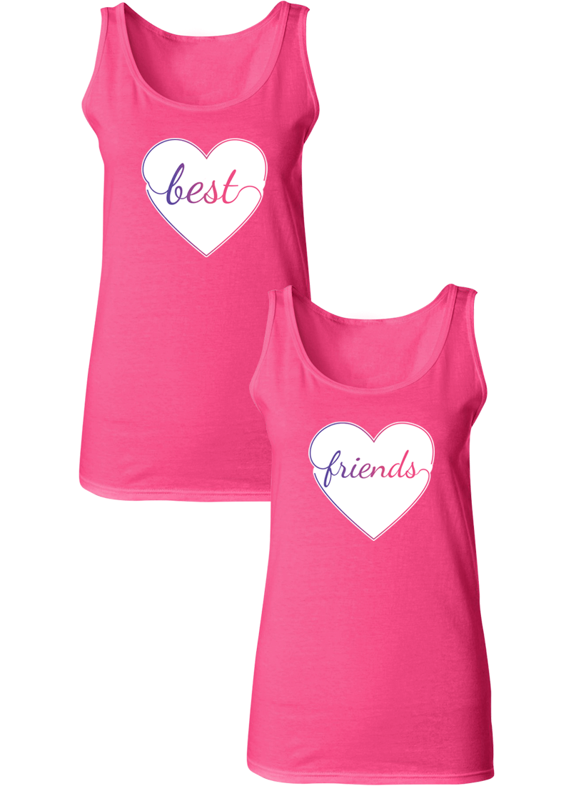 Colorful Hearts Best Friend BFF Matching Tanks