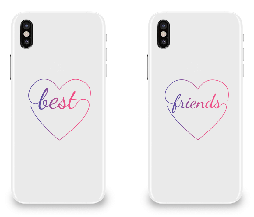 Colorful Hearts Best Friend - BFF Matching iPhone X Cases