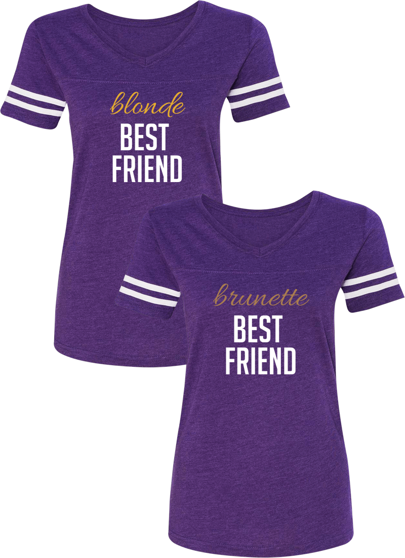 Blonde & Brunette Best Friend BFF Matching Jersey