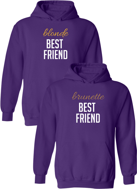 Blonde & Brunette Best Friend BFF Matching Hoodies