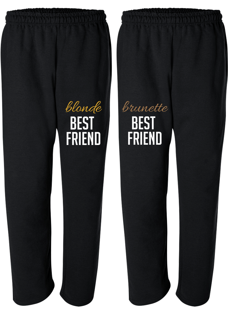 Blonde & Brunette Best Friend - BFF Matching Sweatpants