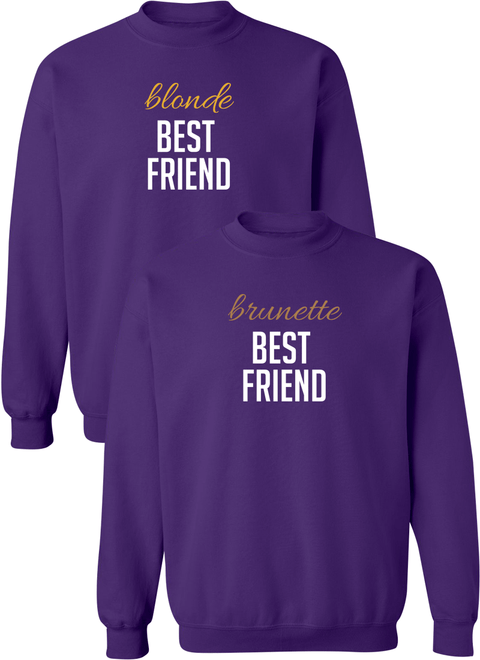 Blonde & Brunette Best Friend BFF Matching Sweatshirts