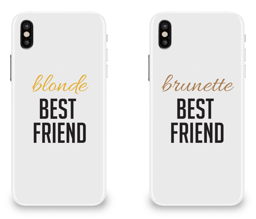 Blonde & Brunette Best Friend - BFF Matching iPhone X Cases