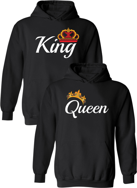 King & Queen Matching Couple Hoodies