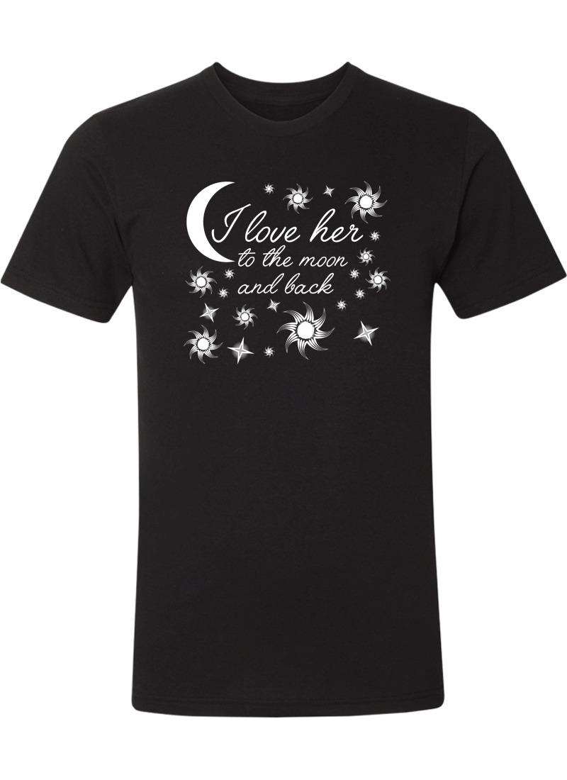 I Love Her & Him To The Moon And Back - Couple Shirts