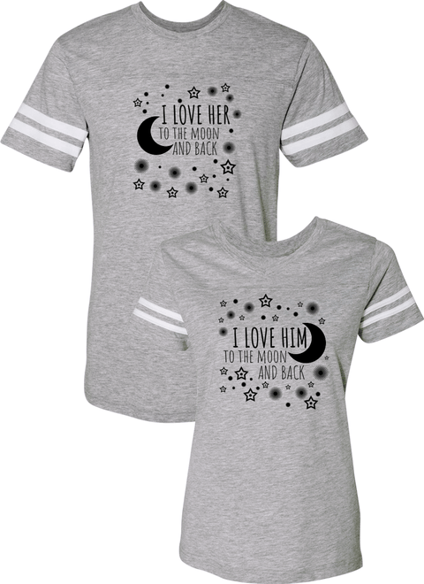 I Love Her & Him To The Moon And Back Couple Sports Jersey