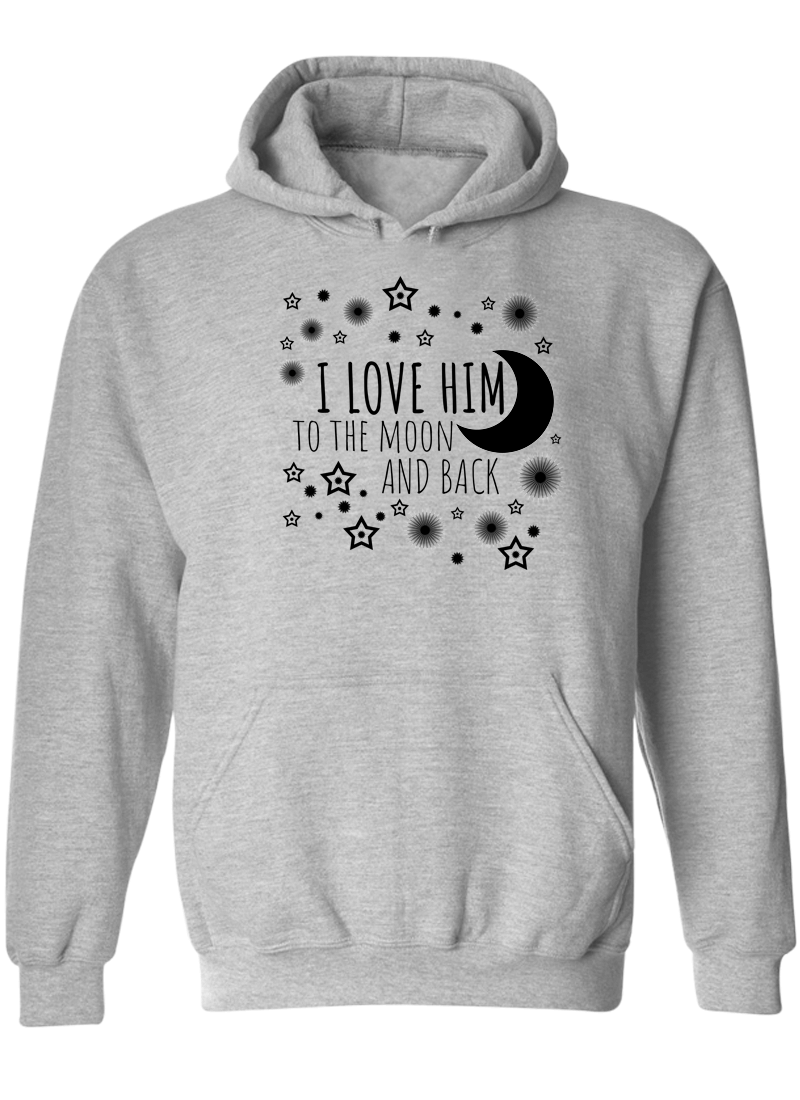 I Love Her & Him To The Moon And Back - Couple Hoodies