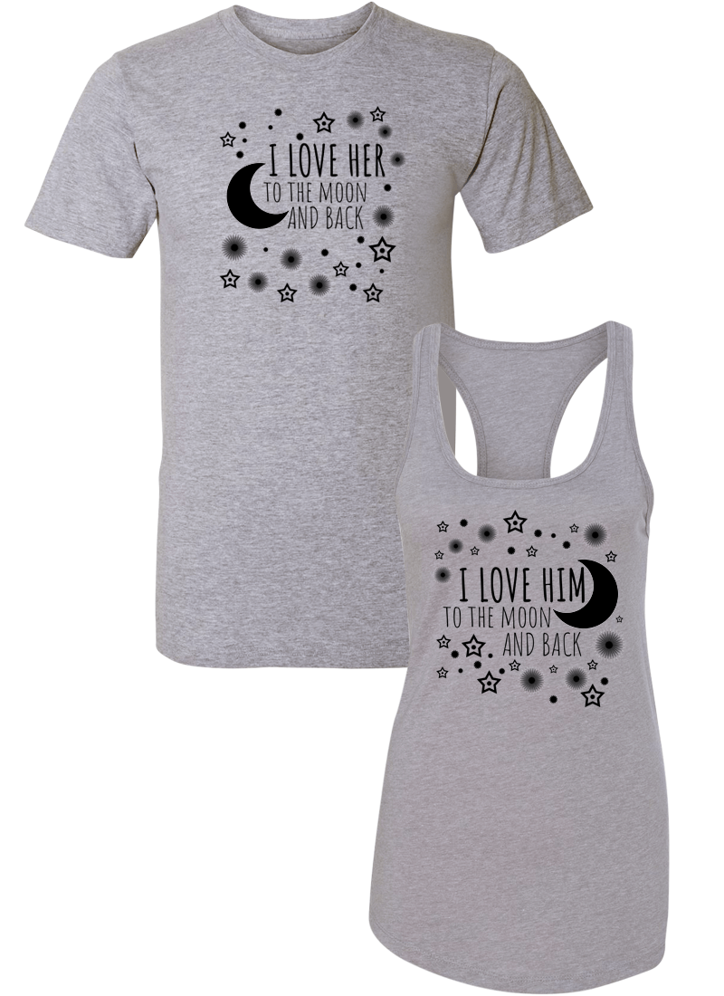 I Love Her & Him To The Moon And Back - Couple Shirt Racerback