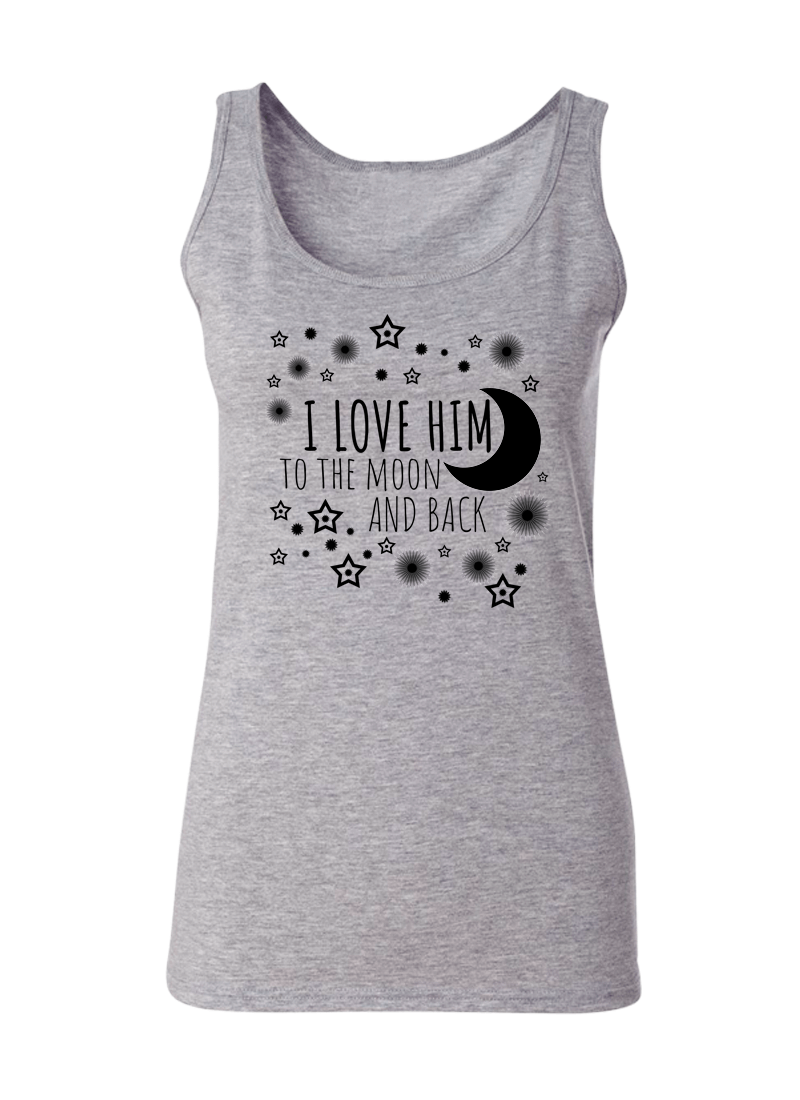 I Love Her & Him To The Moon And Back - Couple Tank Tops