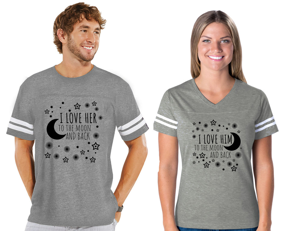 I Love Her & Him To The Moon And Back - Couple Cotton Jerseys