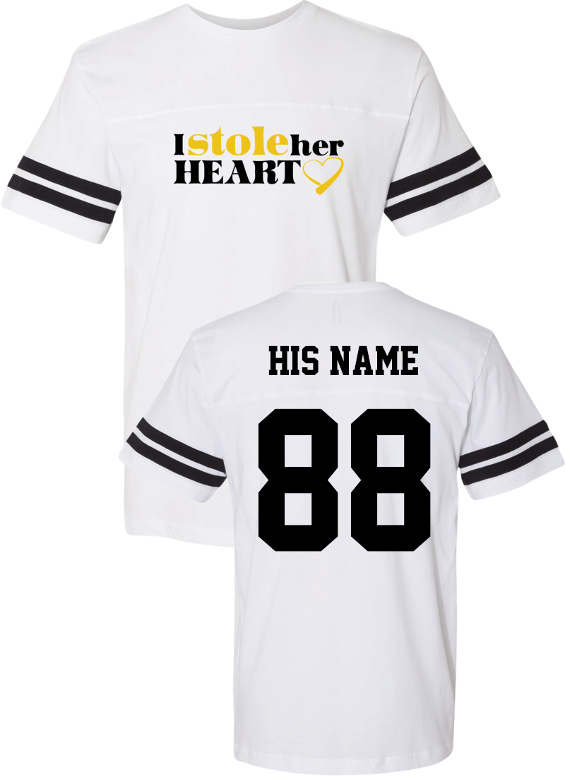 I Stole Her Heart & So I Am Stealing His Last Name - Couple Cotton Jerseys