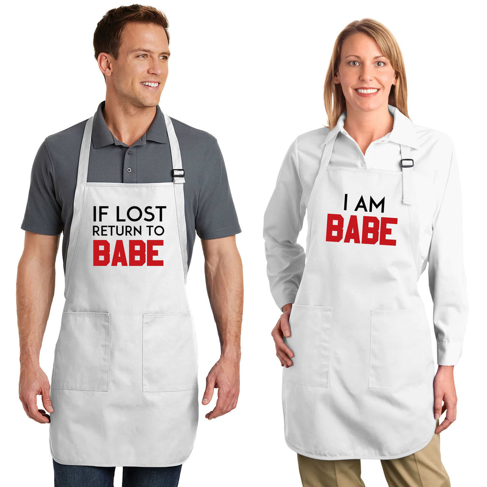 If Lost Return To Babe & I Am Babe - Couple Aprons