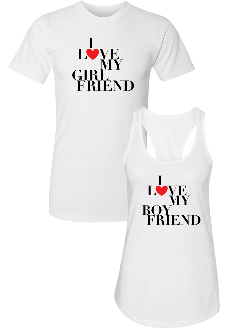 I Love My Girlfriend & Boyfriend - Couple Shirt Racerback