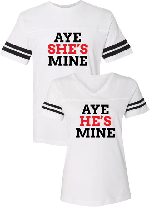 Aye She's Mine & Aye He's Mine Couple Sports Jersey