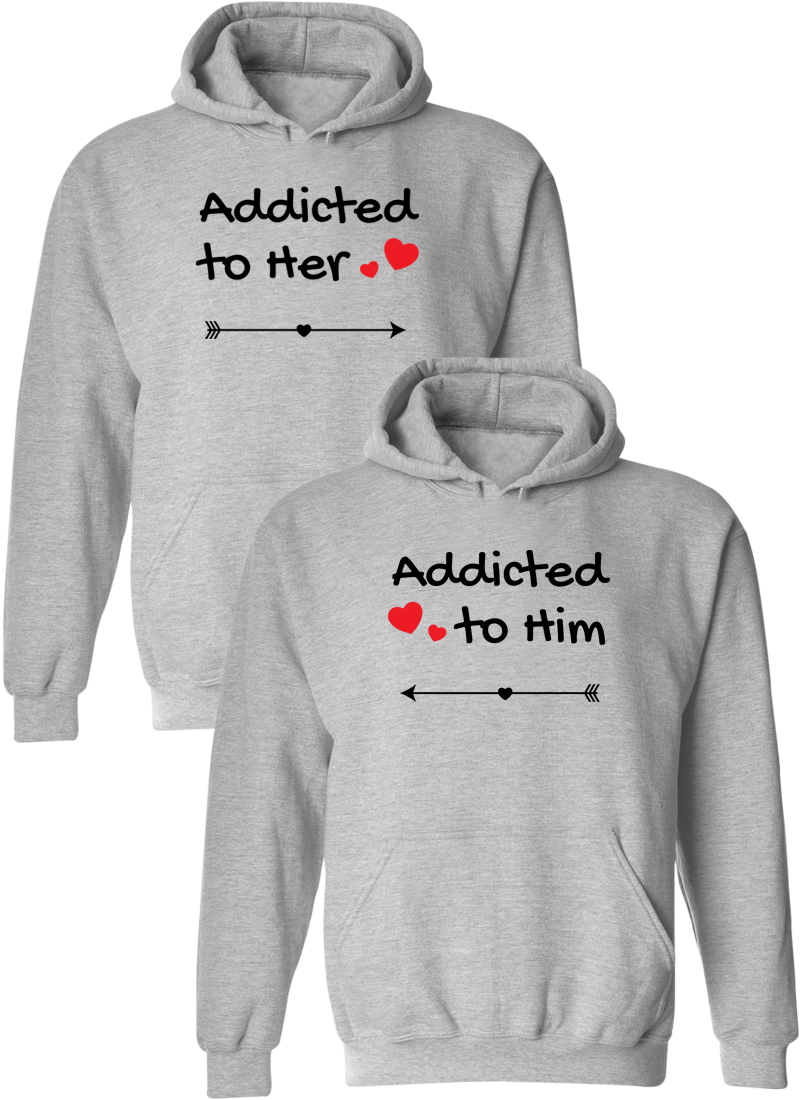 Addicted To Her & Him Matching Couple Hoodies